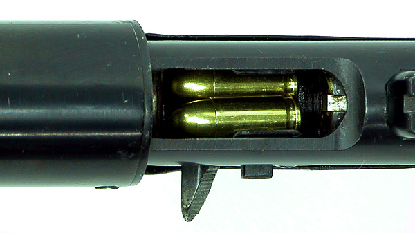 The double stack magazine holds 5 rounds of calibre .32 ACP.